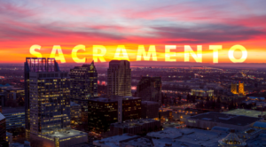 A picture of Sacramento at night in lights