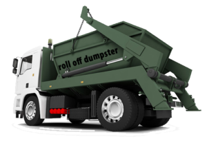 A picture of a truck dropping off a dumpster
